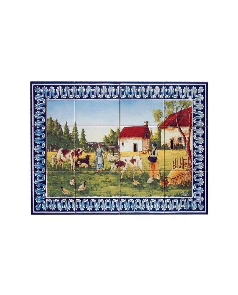 Piastrelle con l'immagine del paesaggio rurale