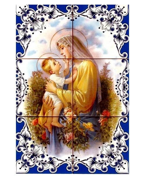 Azulejos com imagem de Nossa Senhora com menino