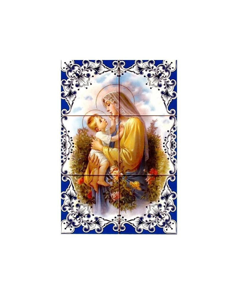 Tiles with the image of Our Lady with child