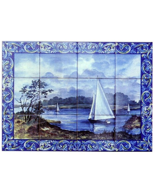 Tiles with the image of landscape with boats