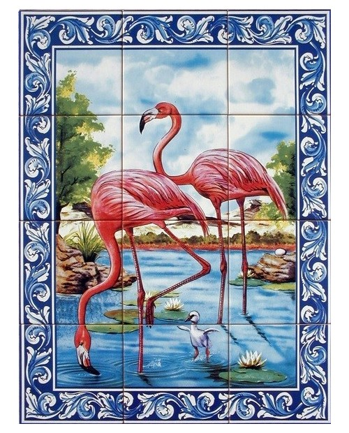 Tiles with image of flamingos