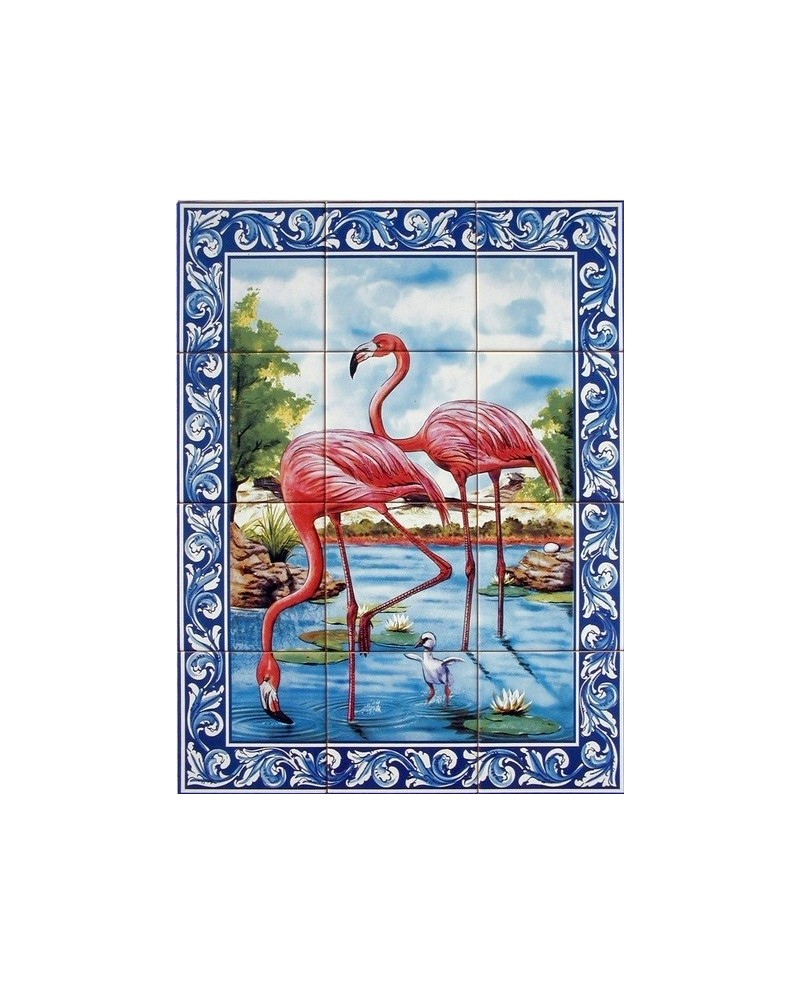 Tiles with the image of flamingos