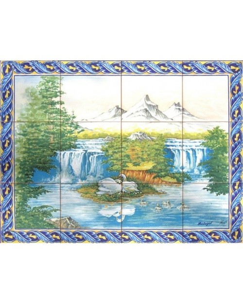 Tiles with the image of mountains
