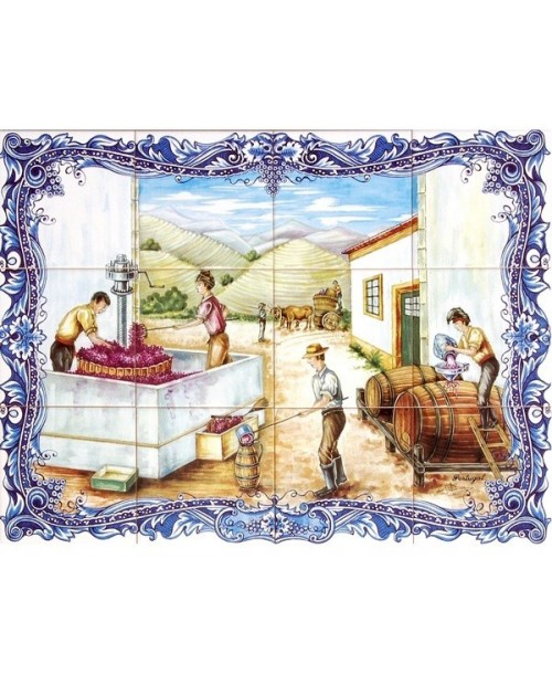 Tiles with the image of the Wine Harvest