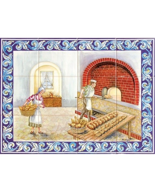 Tiles with image of furnace of the bread