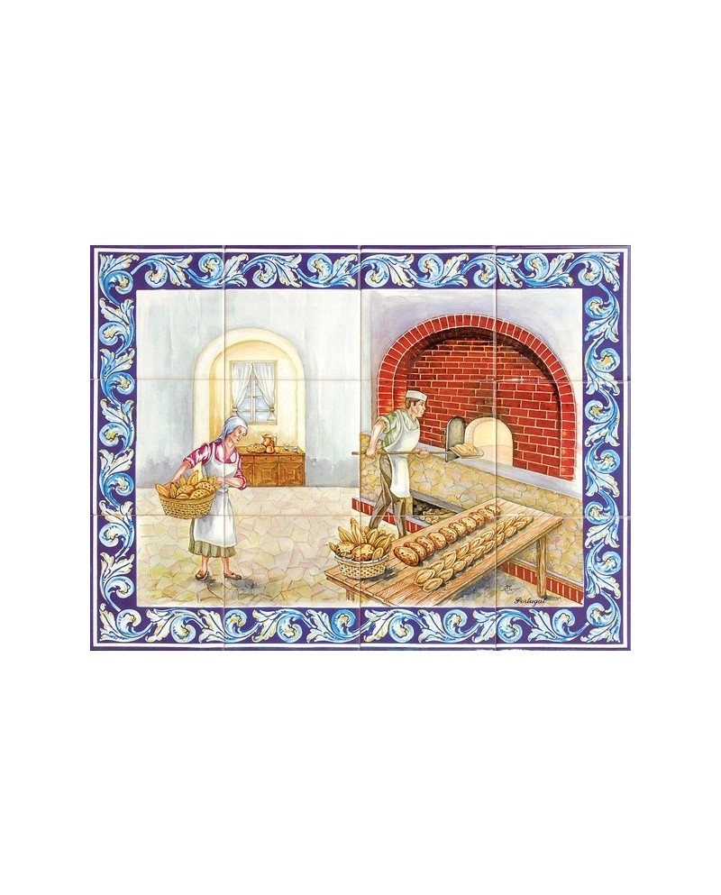 Tiles with the image of the furnace of the bread