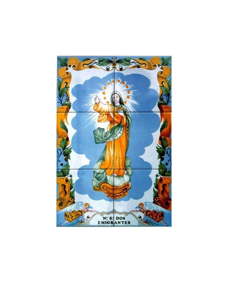 Azulejos con la imagen de la Señora de los emigrantes