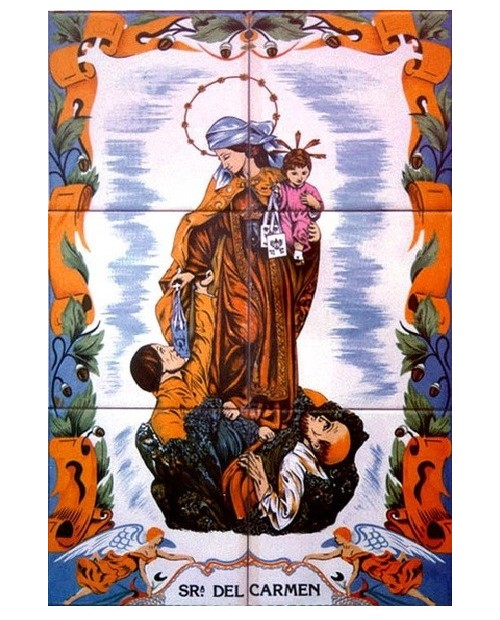 Tiles with image of Our Lady Del Carmen