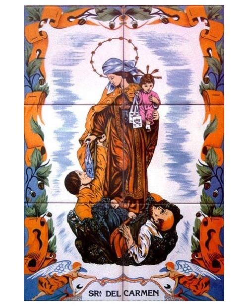 Piastrelle con l'immagine della Signora del Carmen