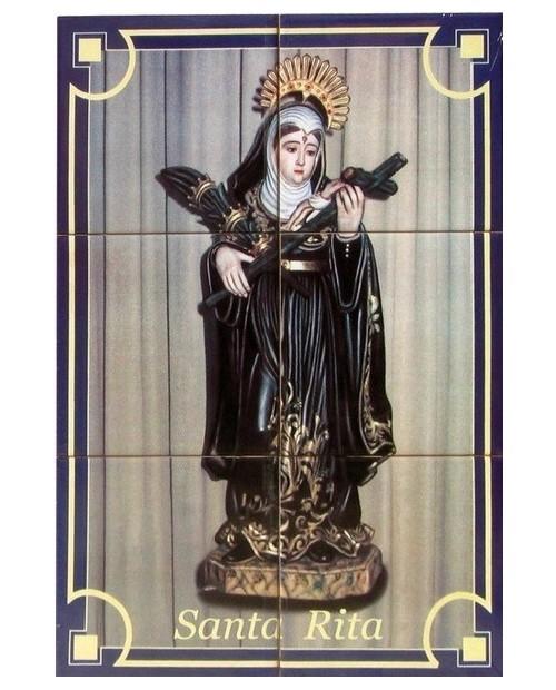 Azulejos con la imagen de Santa Rita