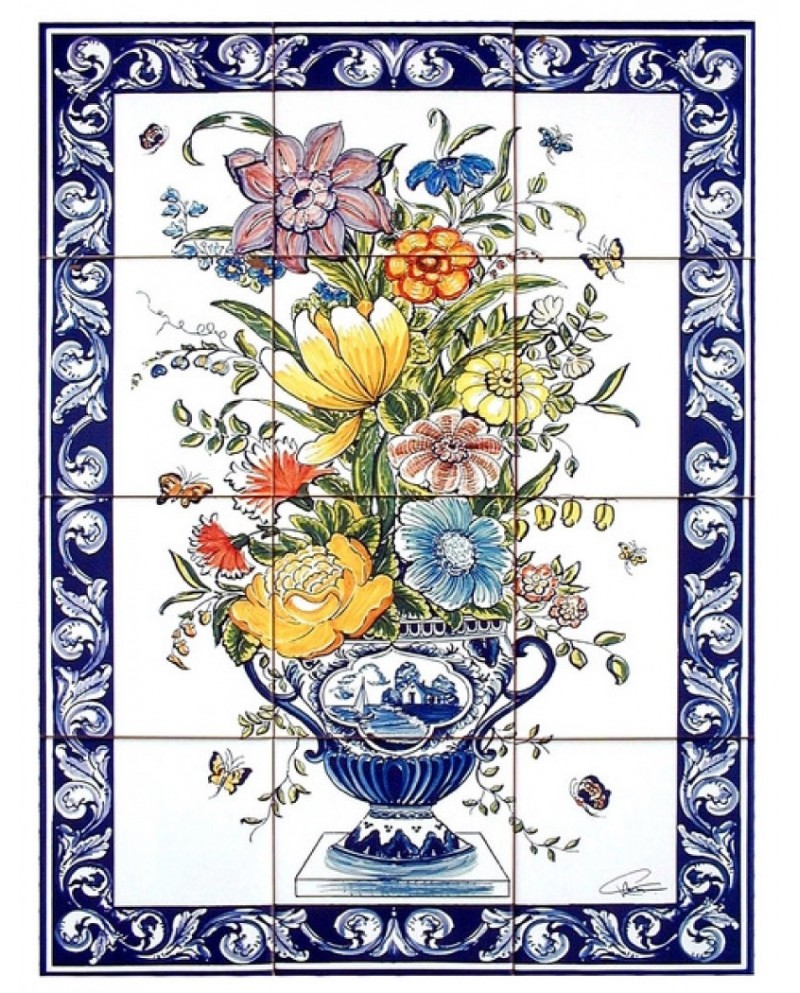 Azulejos con la imagen de jarr n con flores store online - Azulejos con flores ...