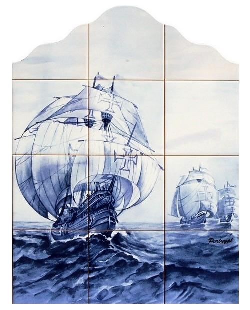 Azulejos con la imagen de carabela