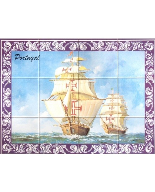Tiles with the image of caravel
