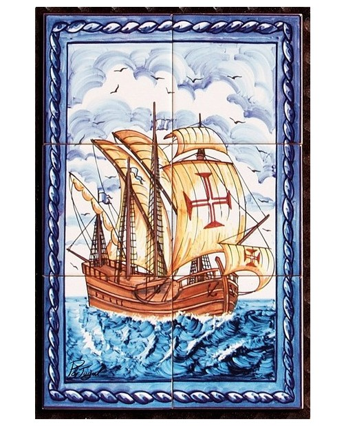 Tiles with the image of a caravel