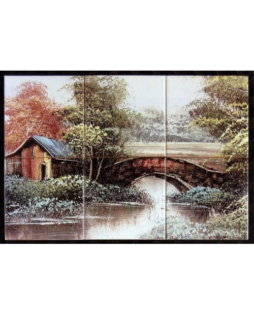 Tiles with the image of country bridge