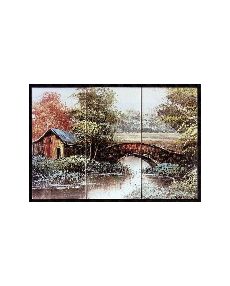 Azulejos com imagem de ponte no campo