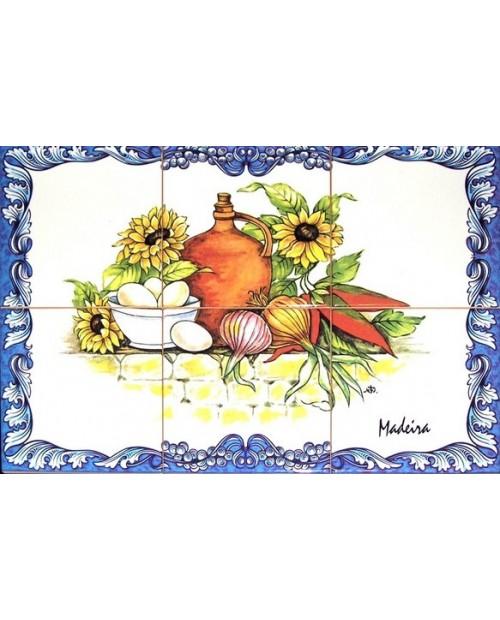 Azulejos com imagem de legumes