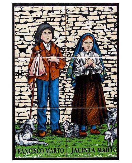 Azulejos con imagen de los pastores Francisco y Jacinta