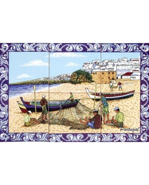 Piastrelle con l'immagine dei pescatori