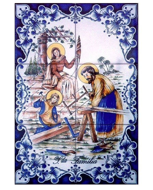 Tiles with an image of the Holy Family