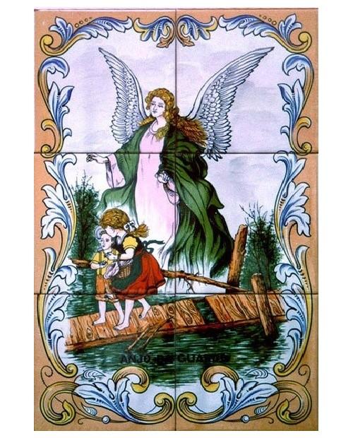 Azulejos con una imagen del Ángel de la Guarda