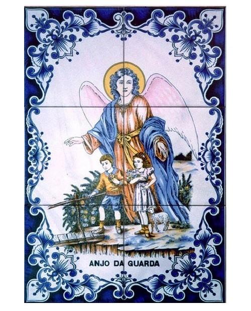 Azulejos con imagen del Ángel de la Guarda