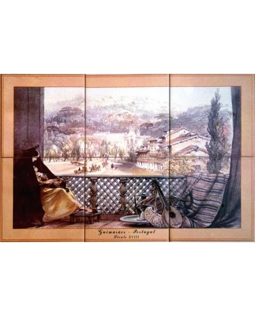 Carreaux avec l'image de Guimarães du XVIII siècle
