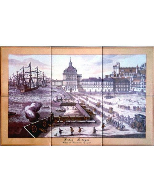 Tiles with image of the Commerce Square - Lisbon