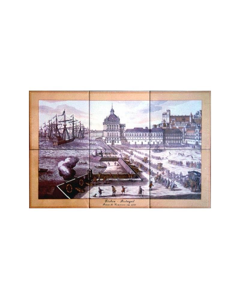 Azulejos con una imagen de la Plaza del Comercio - LisboaI