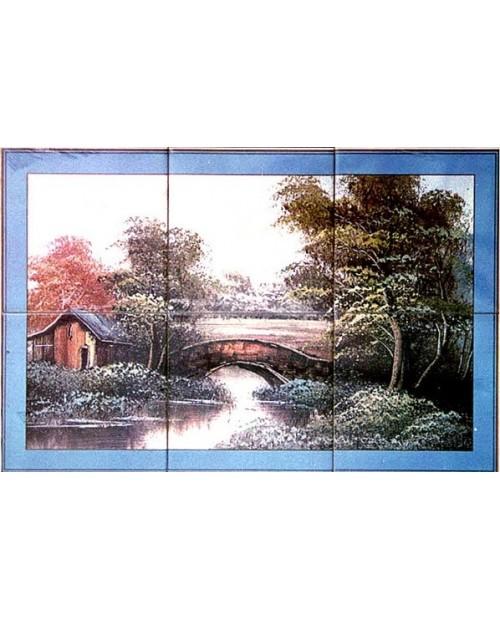 Azulejos con la imagen del paisaje de Campo