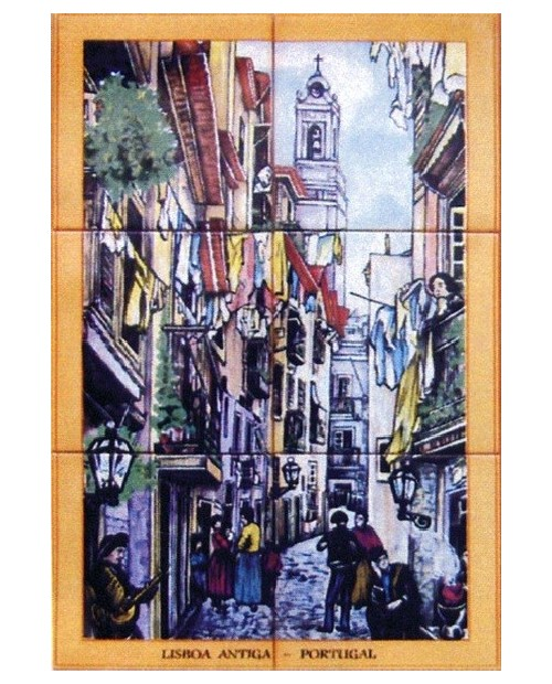 Tile with picture of Lisbon