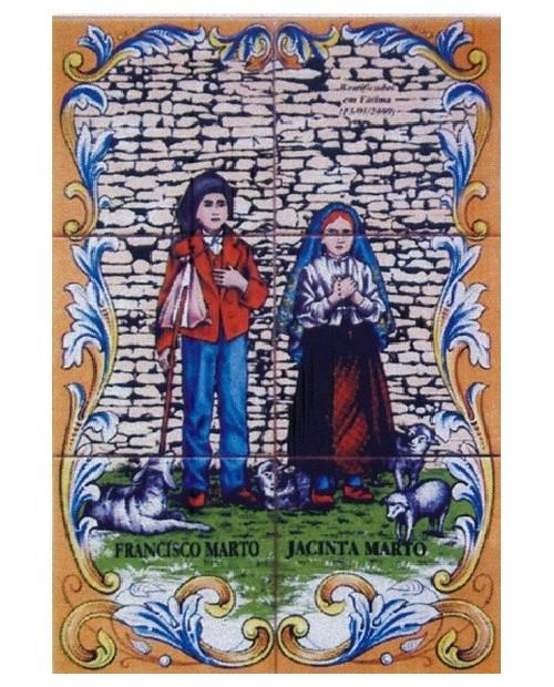 Azulejos con imagen de los pastorcitos Francisco y Jacintaa