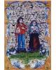 Azulejos con una imagen de los pastorcitos Francisco y Jacinta