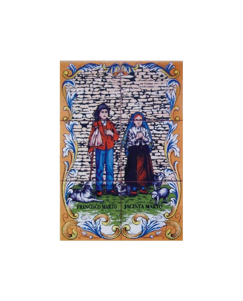 Tiles with an image of little shepherds Francisco and Jacinta