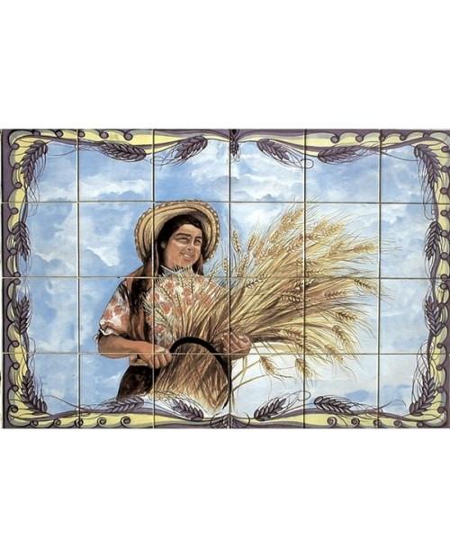 Azulejos con la imagen de Señora a cosechar