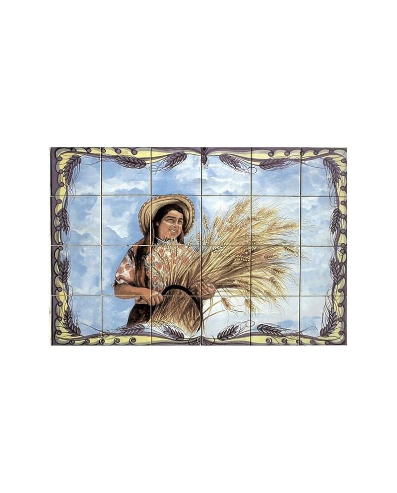 Azulejos com Imagem de Senhora a Ceifar