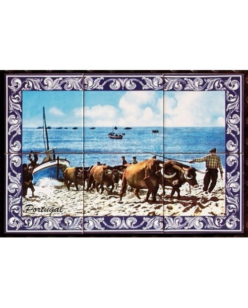 Tiles with the image of fishermen on the beach