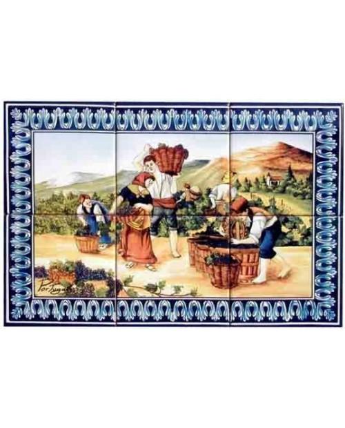 Azulejos con la imagen de la Vendimia