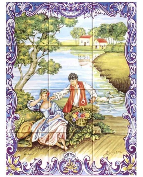 Tiles with the image of Couple in the Lake