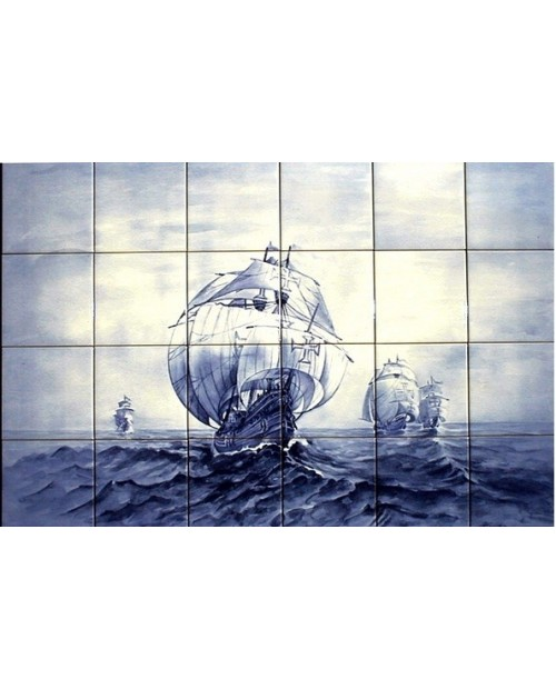 Tiles with image of caravel