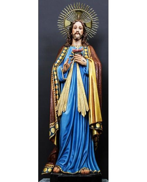 Statue en bois du Sacré-Coeur de Jésus