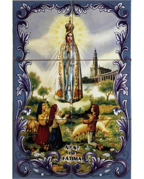 Azulejos con la imagen de Nuestra Señora de Fátima