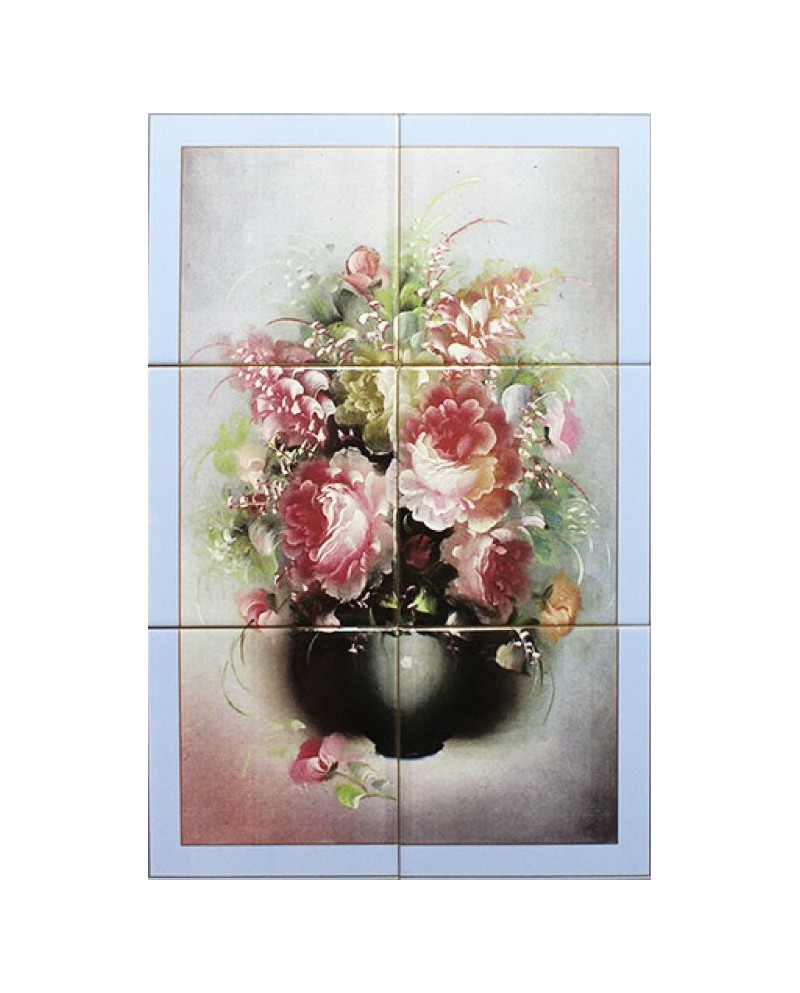 Azulejos con la imagen de Jarrón con flores