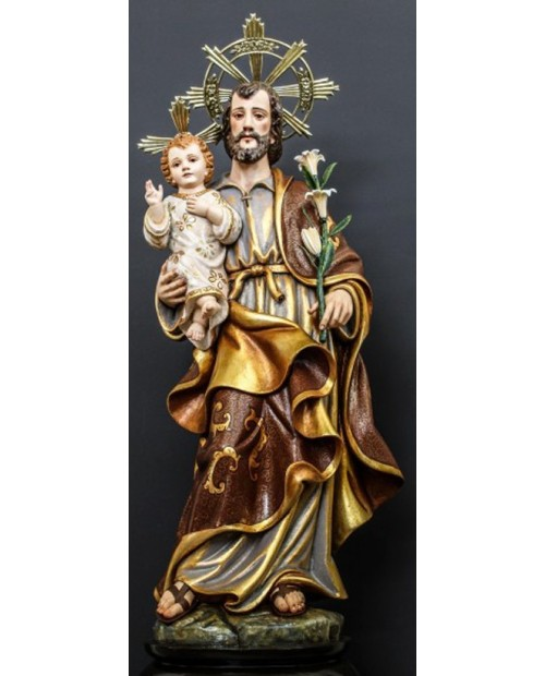 Estatua de madera de San José con el Niño Jesús