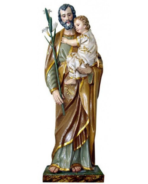 Wooden statue of St. Joseph with baby Jesus