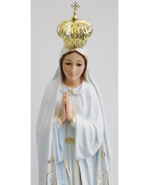 Estatua de Nuestra Señora de Fátima con los ojos de cristal