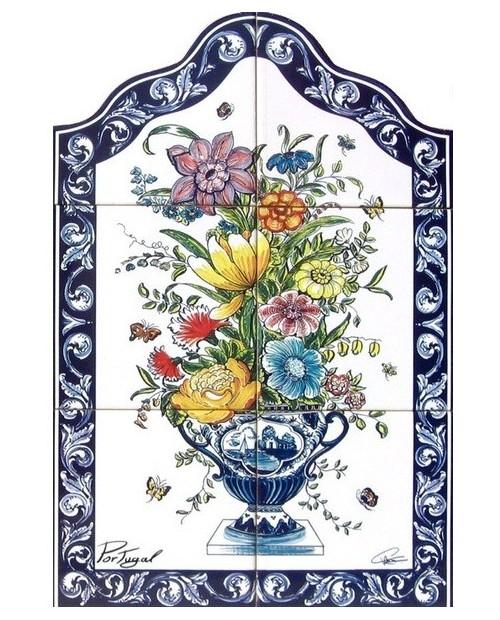 Azulejos con imagen de Jarrón con flores