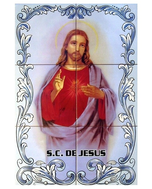 Tiles with image of the Sacred Heart of Jesus