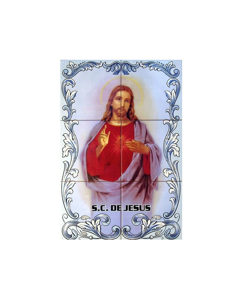 Tiles with an image of the Sacred Heart of Jesus