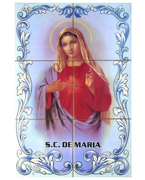 Azulejos con una imagen del Sagrado Corazón de María